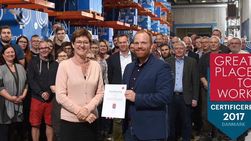 Lindab har længe arbejdet målrettet med medarbejdertrivsel. Certificeringen fra Great Place to Work er en blåstempling af den indsats og et skridt mod det ambitiøse mål om at være blandt landets bedste arbejdspladser i 2020.