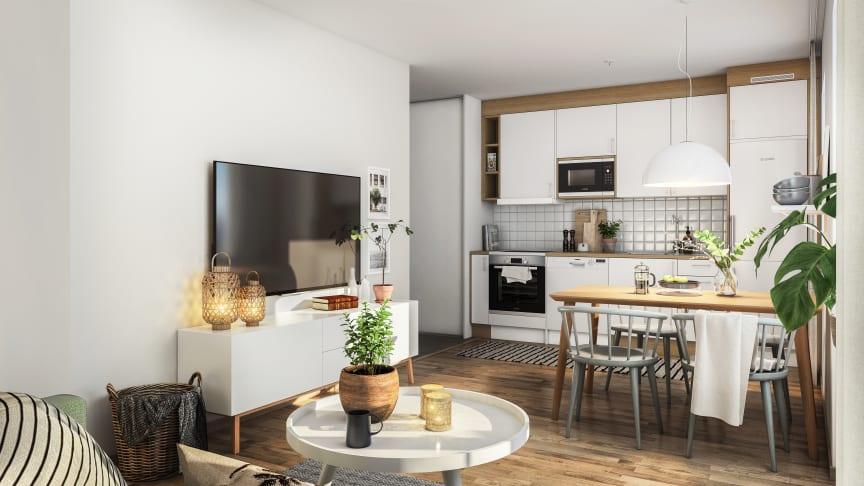 Så här kan en nybyggd lägenhet i kvarteret Välljärnet se ut möblerad och klar.