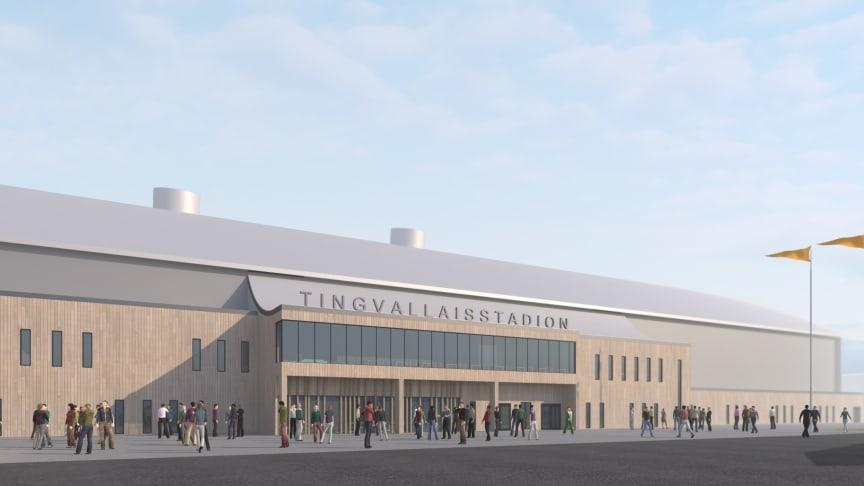 Nya Tingvalla is blir en plats för bandy, konståkning, skridsko, ishockey och allmänhetens åkning. Bild: Sweco.
