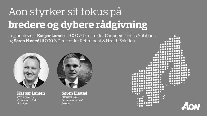 Kaspar Larsen, CCO & Director for Commercial Risk Solutions og Søren Husted, COO & Director for Retirement & Health Solution i Danmark.