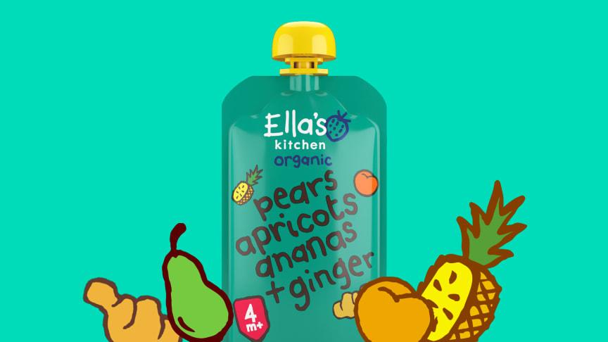 Ella's Kitchen tuo uuden inkiväärillä maustetun luomu hedelmäsoseen lapsille – vuoden 2021 tavoitteena vähentää sokeria kaikista Ella's Kitchen tuotteista