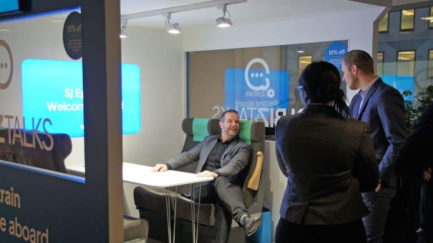 I SJs lounge Epitrain kan Epicenters medlemmar både jobba och utbyta idéer med SJs medarbetare.