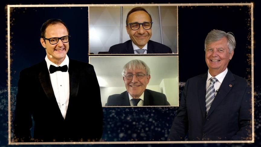 Moderator Vince Ebert, Laudator Dr. Berndt Birkner und die Preisträger Dr. Brian Hashemi und Prof. Christoph Beglinger