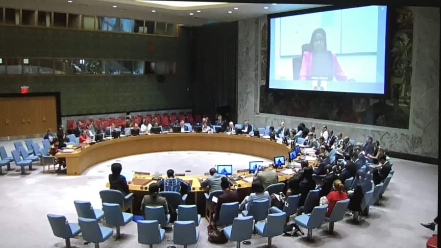 Hafsa Ahmed, a Sustained Dialogue moderator, addresses the UN Security Council on the role of youth in peacebuilding.jpg