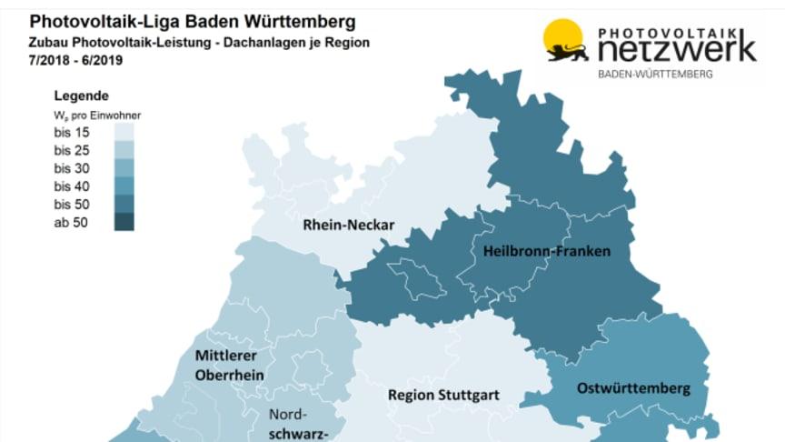 Photovoltaik-Liga Baden-Württemberg: Zubau bei Photovoltaik-Dachanlagen zwischen Mitte 2018 und Mitte 2019 nach Regionen im Südwesten.