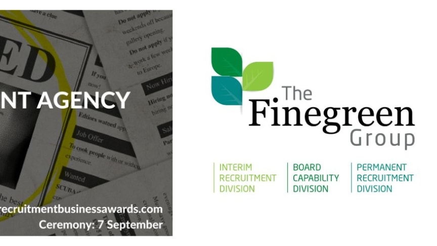 """Finegreen shortlisted as finalists for both """"Small Agency of the Year"""" & """"Public Sector Agency of the Year"""" at the  Recruitment Business Awards 2017!"""