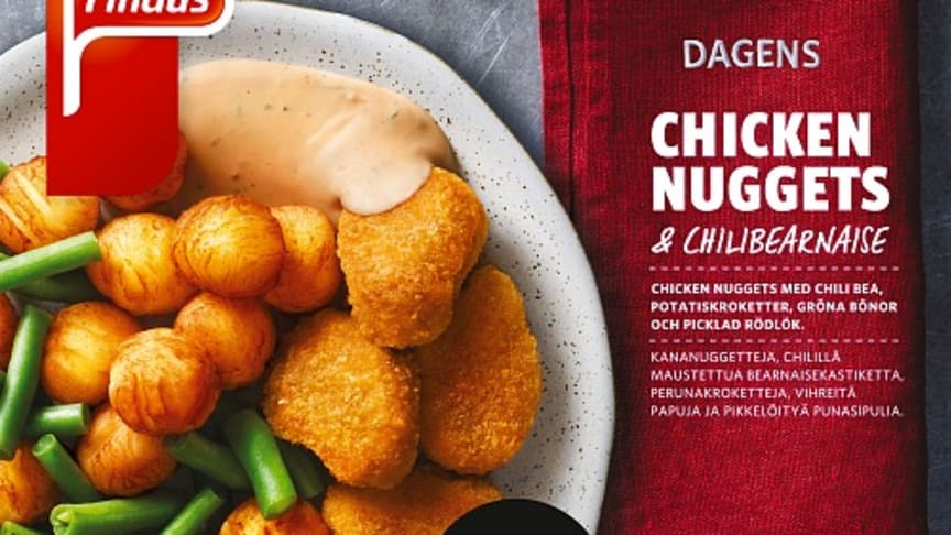 Dagens Chicken Nuggets med chilibearnaise och picklad rödlök.