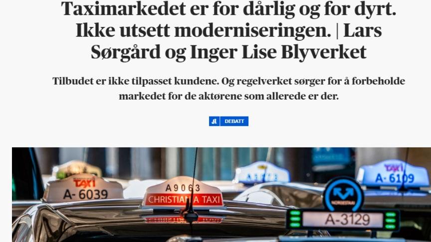 """""""Taximarkedet er for dårlig og for dyrt"""", skriver de to direktørene, men vil ikke svare på spørsmål om hvilke priser eller sentraler de snakker om. (Skjermdump fra Aftenposten)."""