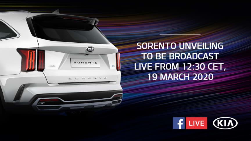 Afsløringen af den nye KIA Sorento bliver livestreamet torsdag den 19. marts kl. 12.30 direkte på KIAs Facebook-side: https://www.facebook.com/Kiamotorsworldwide/videos/2589406991318473/