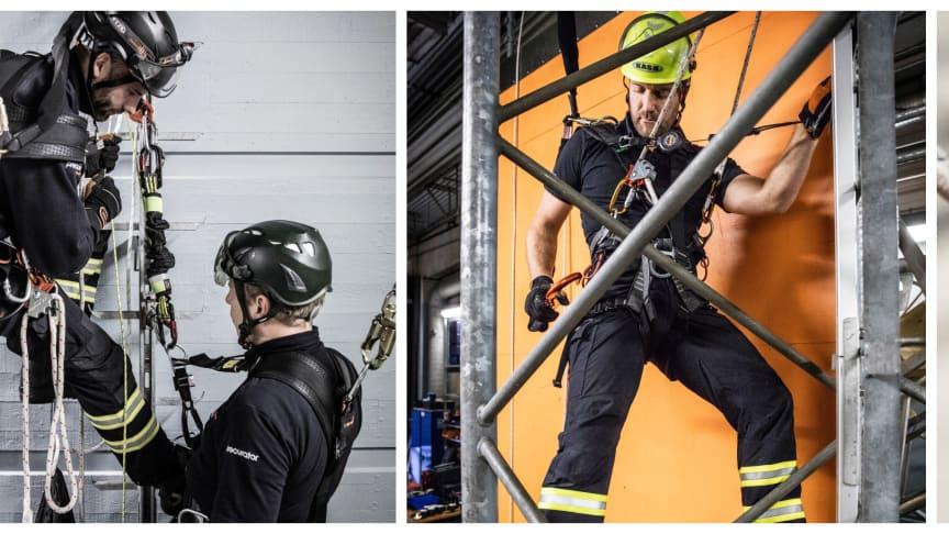 Du får gott om möjlighet att prova på fallskyddsutrustning på grundkursen.
