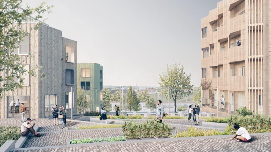 Skiss över projekt Träbyn