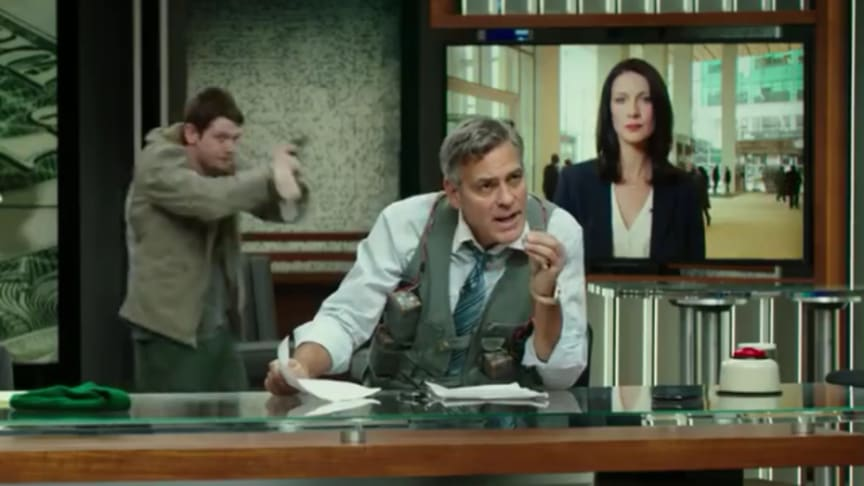 Crisis comms to the extreme: Lee Gates' (George Clooney) life depends on what Diane Lester (Caitriona Balfe) says in this live cross