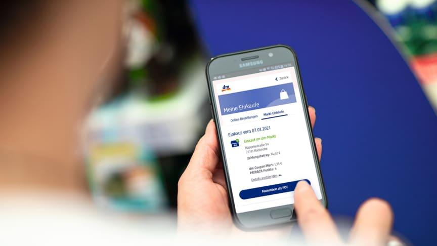 """dm bietet neuen Service: Mit der """"Mein dm-App"""" zum digitalen Kassenbon"""