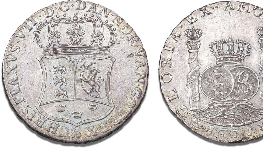 Danmark, piaster 1771, København, H 21, S 6, FP 32, Dav. 411A. Kurt Guldborgs samling. Vurdering: 350.000 kr.
