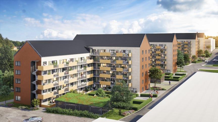 Stena Fastigheter bygger 196 nya bostäder i Askim – med fokus på gröna gårdar och granngemenskap
