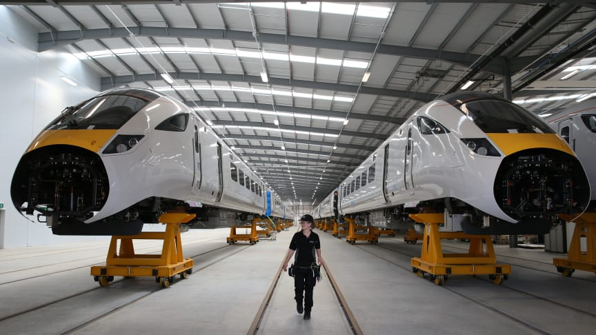Building trains at Hitachi's facility in Newton Aycliffe