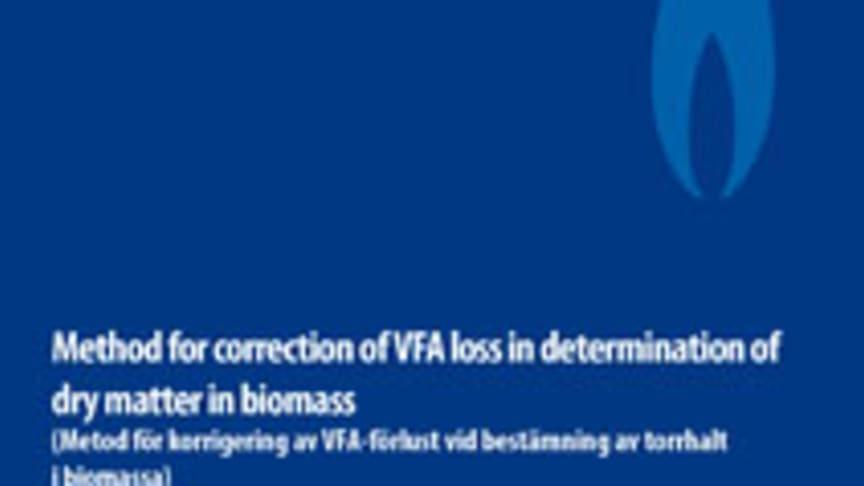 SVU-rapport C SGC2013-273: Metod för korrigering av VFA-förlust vid bestämning av torrhalt i biomassa (Avlopp & Miljö)