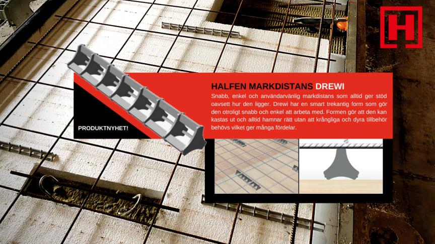 Halfens markdistans Drewi är en snabb, enkel och mycket användarvänlig markdistans som alltid ger stöd oavsett hur den ligger.
