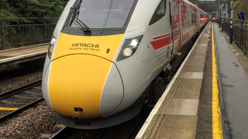 Hitachi Intercity train carrying out digital signalling tests