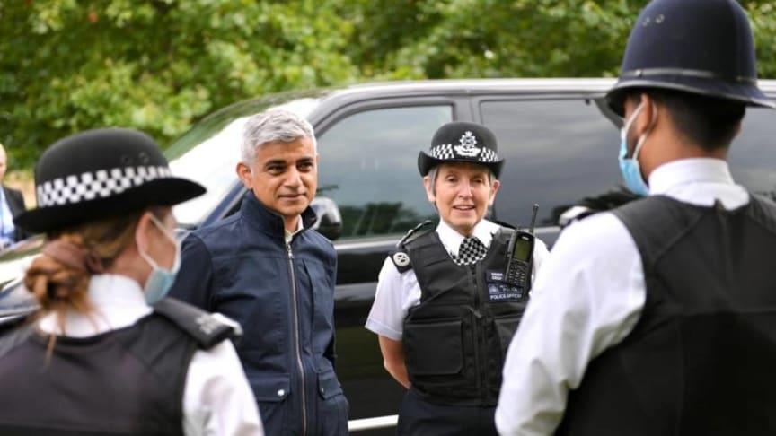 Mayor Sadiq Khan and Commissioner Cressida Dick meeting officers in Newham