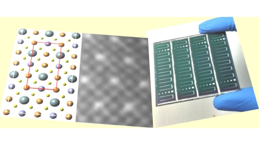 Our route to high-performance and scalable solar cells (right) is through understanding the relationship of solution-processing to the atomic-structural ordering and optoelectronic properties of the semiconducting-materials (left).
