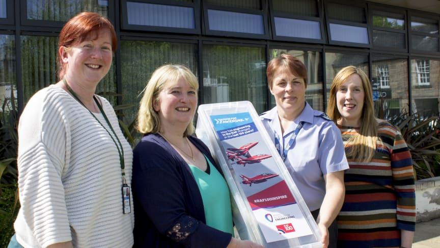 Picture (L to R): Carly Fearon (Burghead Primary), Veronica Nicol (Botriphnie Primary), RAF Lossie Chief Technician Heidi Blakely, Flt Lt Fiona Padbury