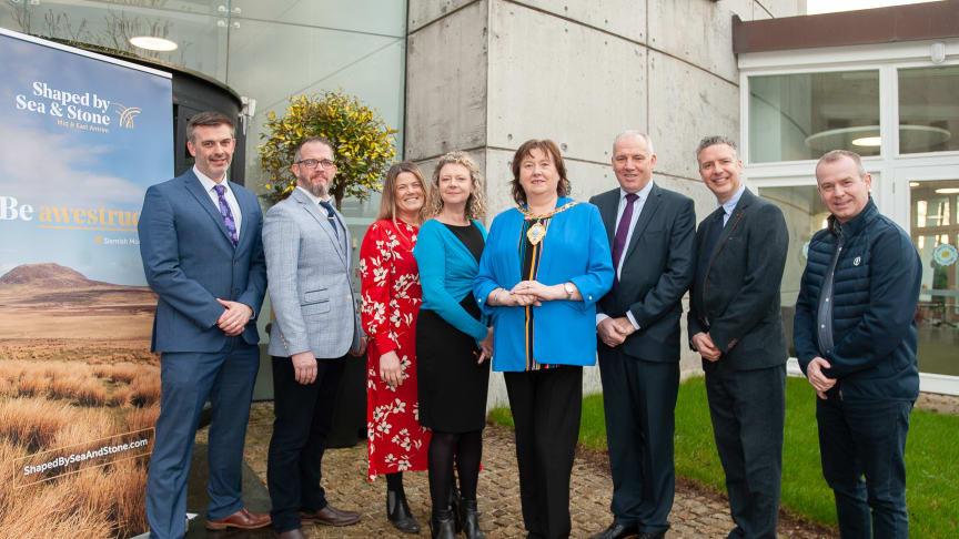 Mayor of Mid and East Antrim, Cllr Maureen Morrow, with from left to right, Paul Mellon, Brendan Murphy, Deborah Rymer, Carolyn Boyd, Mayor, Tony Haren, Jason Powell and Geoff Wilson.