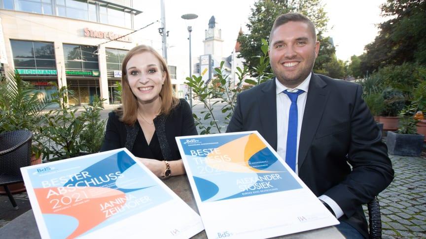 Janina Zeilhofer (Bester Abschluss) und Alexander Stosiek (Beste Abschlussarbeit)