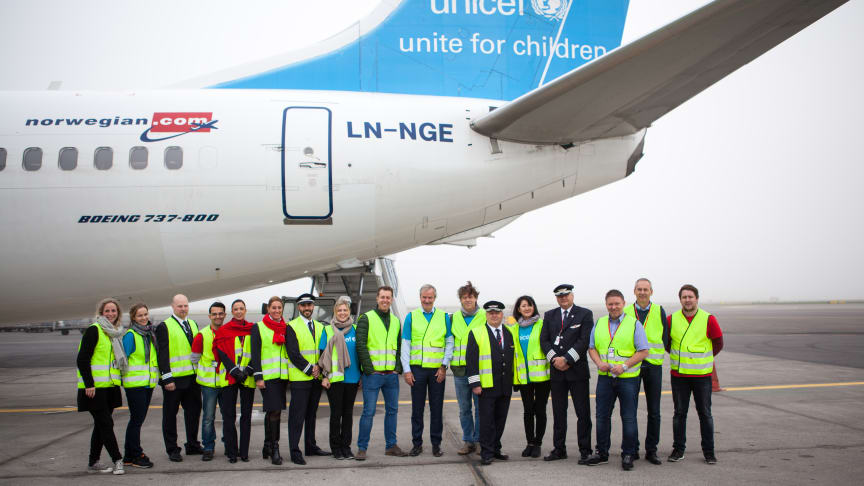 Norwegian and UNICEF's emergency aid flight is now airborne and on its way to Jordan