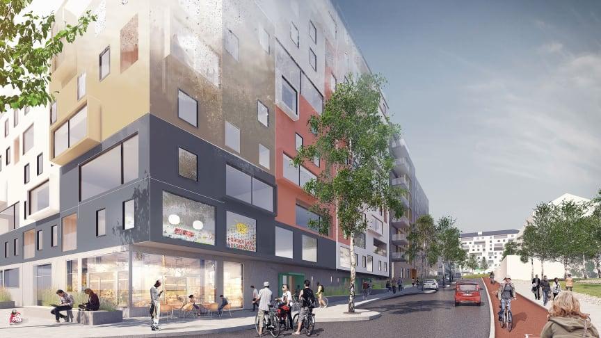 Stena Fastigheter bygger 550 nya bostäder, mötesplatser, förskola och närservice i Högsbohöjd