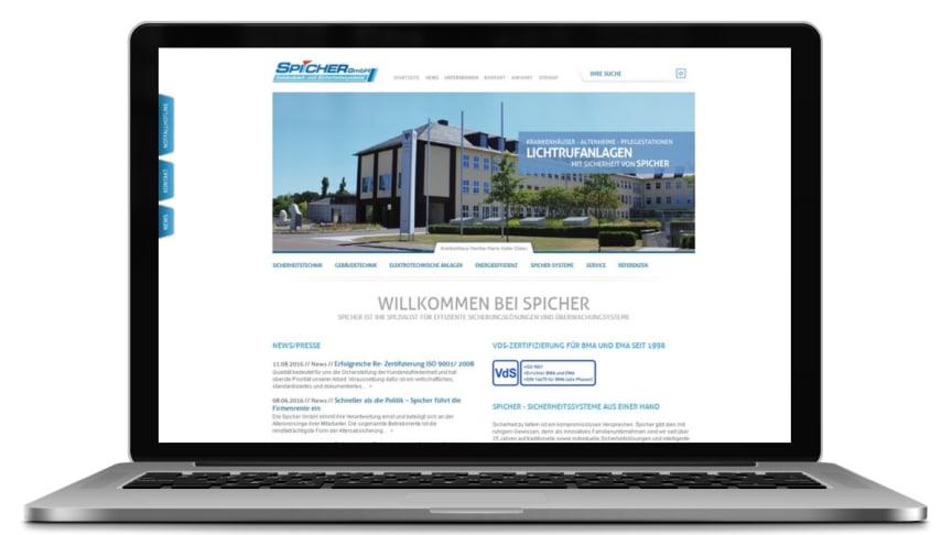 Screenshot: Webseite der Spicher GmbH Halle