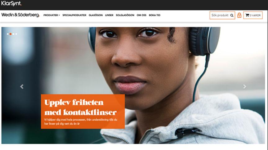 Webbshopp för optikbutiken Wedin & Söderberg, en profilerad KlarSynt-medlem.