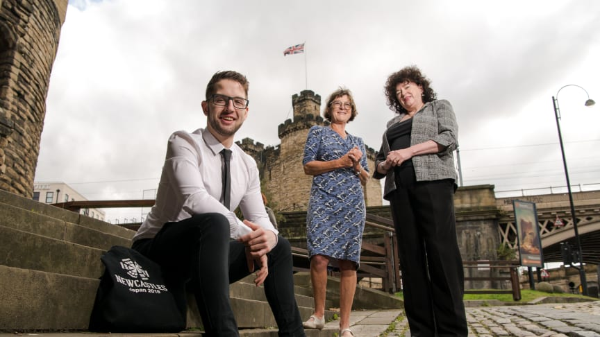 Northumbria University student Christopher Brownhill, pictured with Caroline Theobald CBE and Zélie Guérin