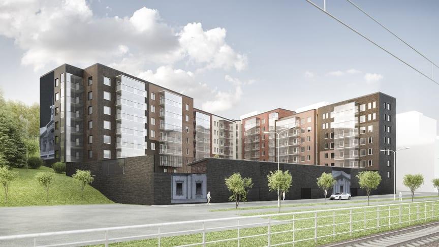 Havainnekuva Jaksonkadulle alkuvuodesta 2023 valmistuvista kerrostaloista.