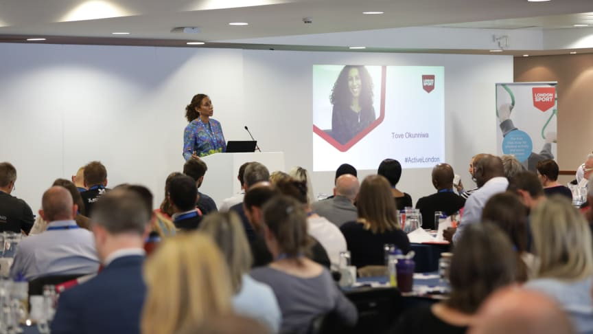 London Sport CEO Tove Okunniwa addresses the audience at Active London 2018