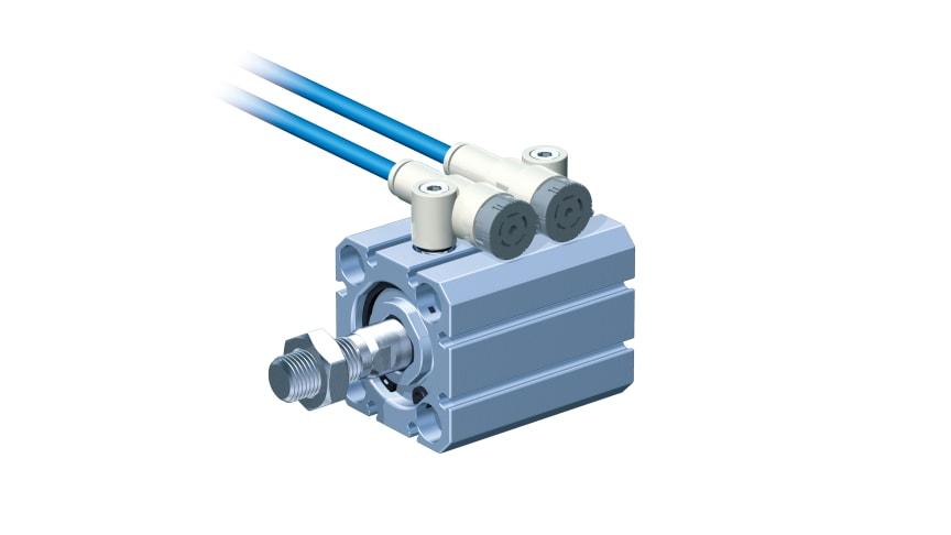 Kompakt strypbackventil för trånga utrymmen