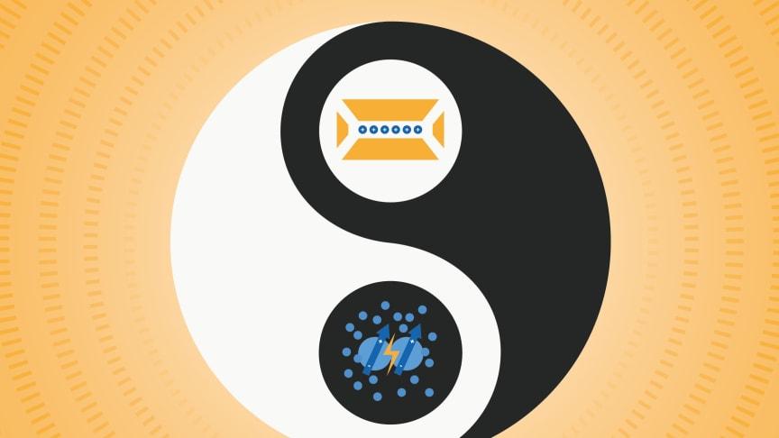 Fångade Rydbergjoner kombinerar styrkorna hos två mycket olika kvantprocessorer: fångad jon (ovan) och Rydbergatom (nedan) i en och samma teknik. Tekniken har potential att öka hastigheten hos fångade jonkvantdatorer. Bild: Elsa Wikander/Azote.