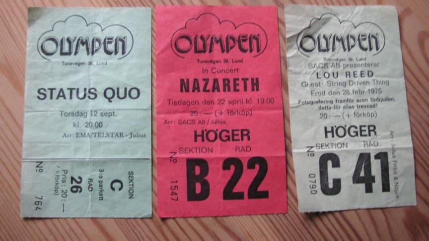 Olympenbiljetterna som dom såg ut innan datasystemen tog över
