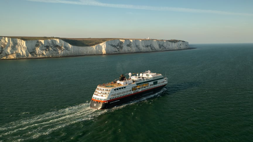 MS Maud leaving the UK for the very first expedition cruise from the Port of Dover to Norway. PHOTO: William Cheaney/PA Wire