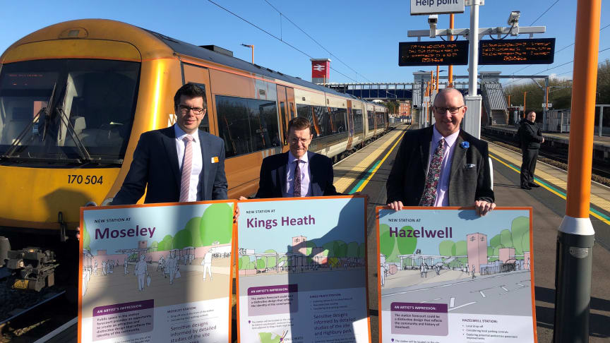 Jonny Wiseman of West Midlands Railway, Mayor Andy Street and Geoff Grant from Transport Focus with the special train