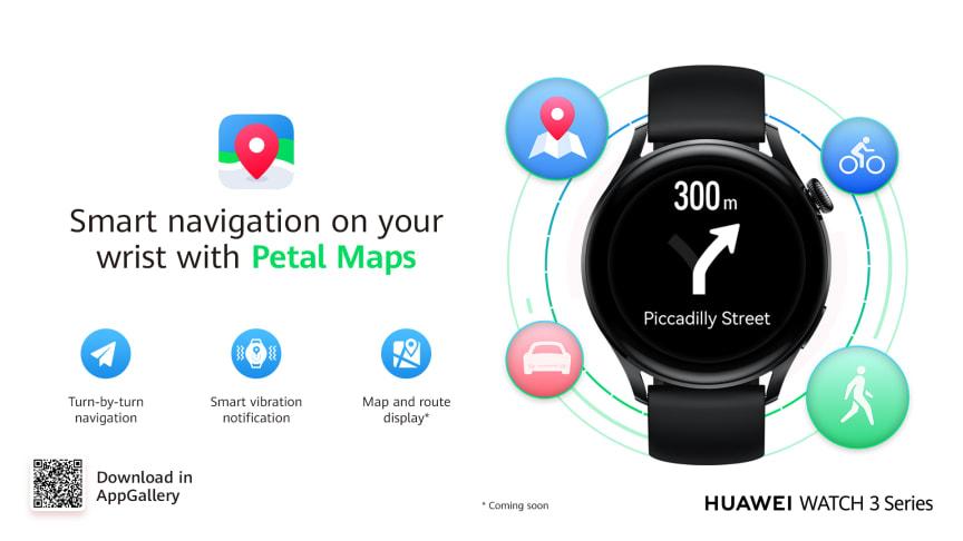 Huawei lanserar ny version av kart-appen Petal Maps  – nu tillgänglig för hela Watch 3-serien