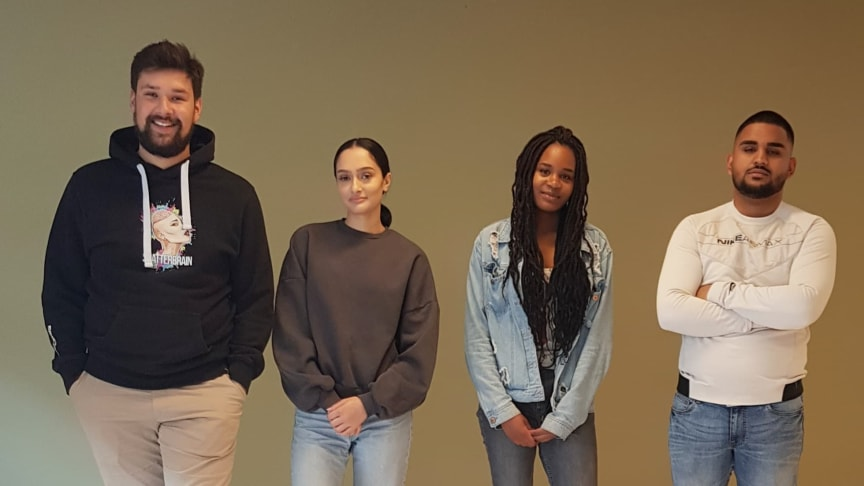 Fra venstre: Kevin Khan, Nkemdilim Okolo, Abubhakar Iftikhar og Kaynat Khan