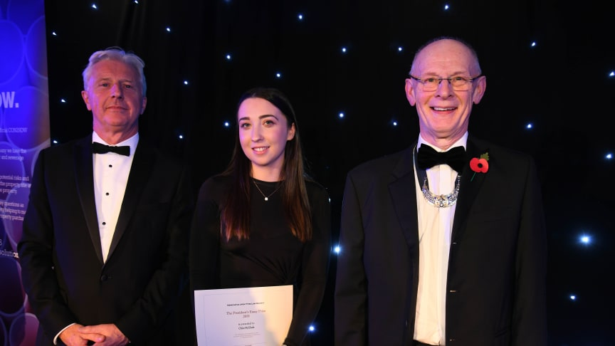 L-R Paul Tennant OBE, Chief Executive of the Law Society, law student Chloe McGlade and Chris Hugill.