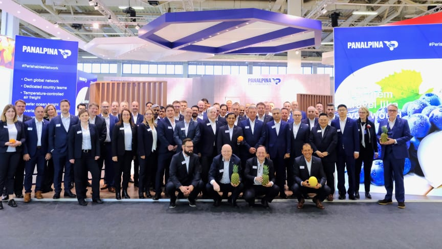 The Panalpina team ready to welcome visitors at Fruit Logistica 2019. (Photo by Panalpina)