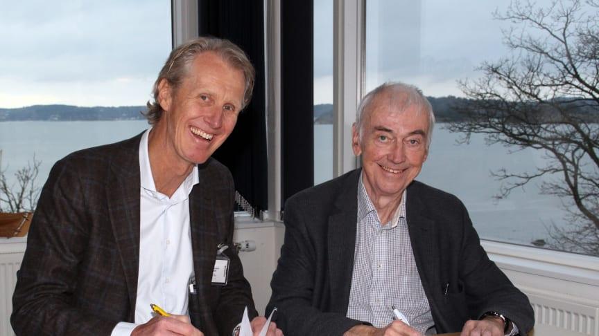 Per Einarsson, VD för Findity tillsammans med Bert-Inge Hogsved, VD för Hogia