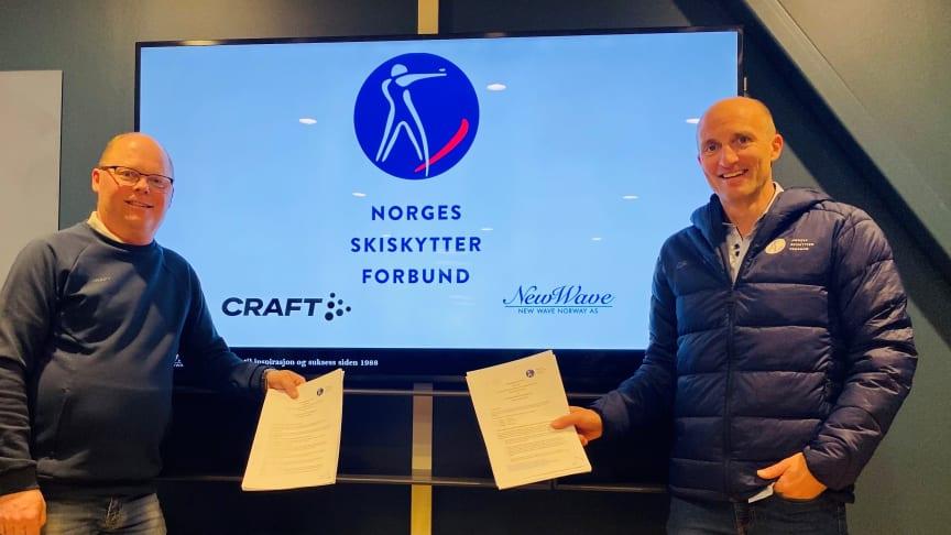 KLARE FOR SAMARBEID: Tom Henriksen, New Wave, og Morten Djupvik fra Norges Skiskytterforbund ser frem til å starte samarbeidet i 2022.