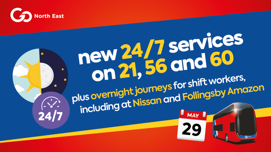 New 24/7 bus services plus overnight journeys for shift workers, including at Nissan and Follingsby Amazon