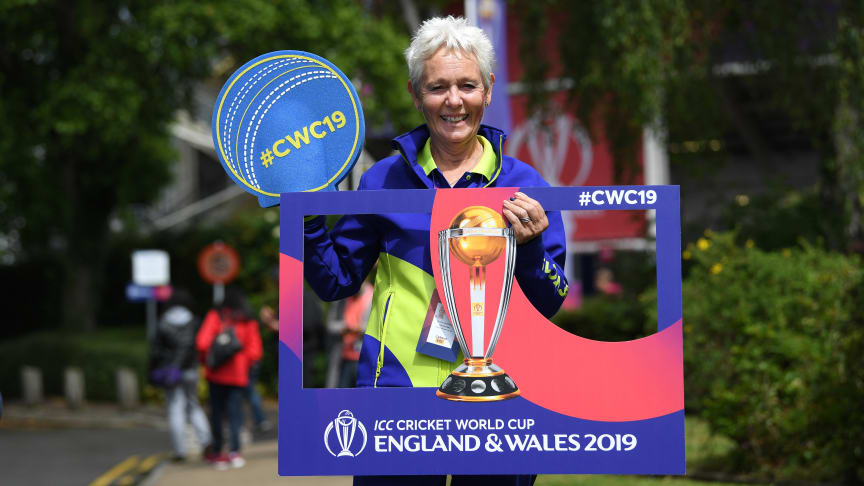 A volunteer helps out at the ICC Men's Cricket World Cup 2019