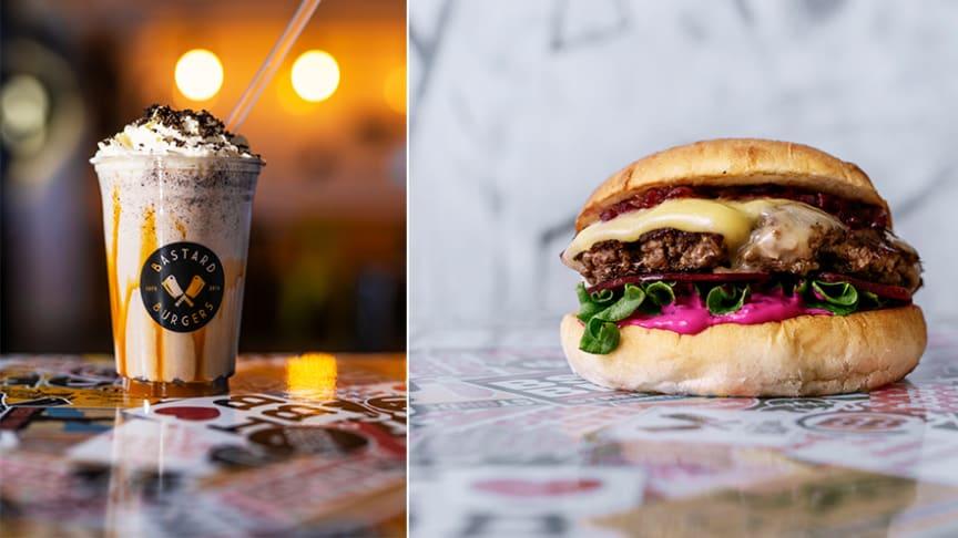 Bild på milkshake och burgare från Bastard Burgers pressarkiv