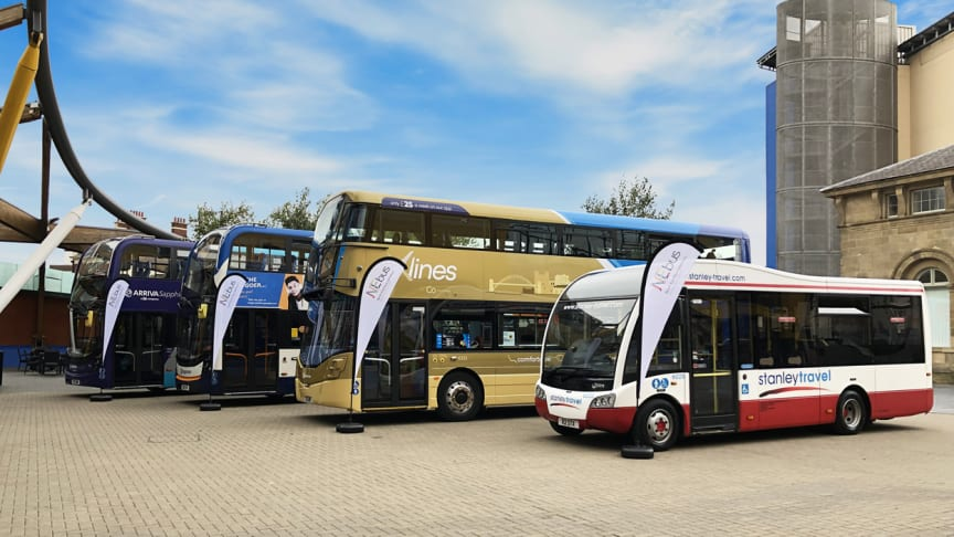 Buses from Arriva, Stagecoach, Go North East and Stanley Travel at the launch of NEbus